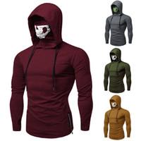zipper hoodies skulls venda por atacado-Legal Mens Casual Manga Longa Hoodies Mascarados Camisola Com Zíper Pullover Jumper Tops com Máscara de Caveira Roupas de Bicicleta Ao Ar Livre
