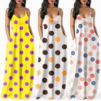gelbe röcke druckt mode großhandel-Welle Punkt Dame Kleid Sommer Camisole Sleeveless Rock Druck V Kragen Lange Kleider Gelb Weiß Urlaub Mode 32kll D1