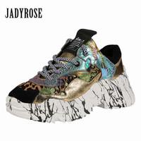 goldplattform kletterpflanzen großhandel-Jady Rose Patchwork Frauen Sneakers Lace Up Plateauschuhe Casual Flache Schuhe Frau Espadrilles Trainer Zapatos Mujer Creepers