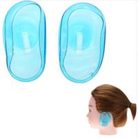 conjuntos de color de pelo de salón al por mayor-1 par / set Pro Salón de silicona clara cubierta de la oreja protección del oído Tinte para el cabello Proteger Color Styling Tool Accesorios Luz verde