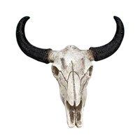 ingrosso cranio di corno-Resina Longhorn mucca testa del cranio Wall Hanging Decor 3D fauna Scultura Miniature Crafts Corni per la casa di Halloween Decor