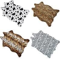 zebra print leather venda por atacado-110X75 CM Zebra stripe Rug Vaca Leopardo Tigre Impresso Do Couro do falso couro da pele NonSlip Tapete Antiderrapante Animal print Carpet para casa