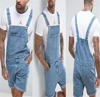 xl denim gesamt shorts großhandel-Mens Sommer Vintage Denim Hosen Overall Shorts Mode Knielangen Siamesische Pullover Button Fly Männlichen Kleid