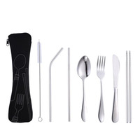 Portable Spoon Fork Knife Lunch Set 7Pcs Set 4Pcs Set Stainless Steel Tableware Set Travel Tableware Dinnerware With Bag BH1524 TQQ