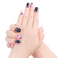 милый акриловый ноготь оптовых-24 шт. Pink Cat Ложные Советы Ногтей Мультфильм Короткие Поддельные Nail Art Art Женщины Дети Акриловые Симпатичные Животные Шаблоны Новый