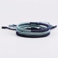 dunkelblaue armbänder großhandel-2019 Art- und Weiseart-handgemachter Schmucksache-justierbare Mens-Qualitäts-grünes dunkelblaues Seil-Armband mit freiem Geschenk