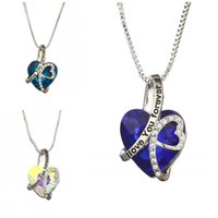 Wholesale forever jewelry resale online - Heart Shaped Female Pendant I Love You Forever Necklace Crystal Clavicular Chain Jewelry EDC Alloy Blue Birthday Present yn C1