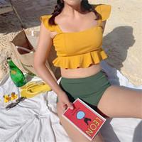 traje de baño acolchado amarillo al por mayor-Bikini de cintura alta Mujer Traje de baño sólido Traje de baño estilo coreano Volante Biquini Crop Top Bikinis Push Up traje de baño amarillo acolchado Y19072601