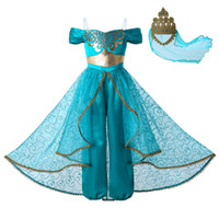 Wholesale lamp halloween costume for sale - Group buy Pettigirl New Aladdin s lamp Jasmine Princess Costume Cosplay Party Kids Clothes Girls Jumpsuit Costumes Golden Lace Crown G DMGD112 A265
