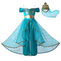 roupas de renda para crianças venda por atacado-Pettigirl New Aladdin's lâmpada Jasmine Princesa Traje Cosplay Partido Roupa Dos Miúdos Meninas Trajes Jumpsuit + Coroa Do Laço De Ouro G-DMGD112-A265