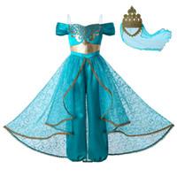prenses elbiseleri toptan satış-Pettigirl Yeni Alaaddin'in lambası Yasemin Prenses Kostüm Cosplay Parti Çocuk Giyim Kız Tulum Kostümleri + Altın Dantel Taç G-DMGD112-A265