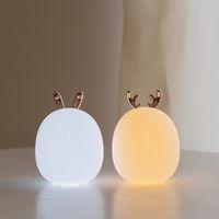 bebekler için gecelik hafif oyuncaklar toptan satış-Güzel Sevimli Tavşan Geyik LED Gece Lambası Lamba Kablosuz Dokunmatik Sensör Silikon Çocuk Çocuk Bebek oyuncakları Başucu Dekorasyon Noel
