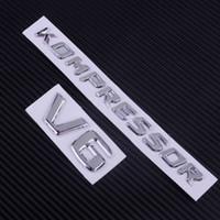 emblèmes en plastique chromé achat en gros de-Emblème d'insigne de tronc d'autocollant de voiture de garde-boue latéral de chrome V6 KOMPRESSOR pour Mercedes Benz