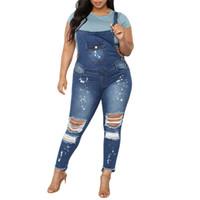 жирная мода оптовых-Women Casual Denim Bib Pants Overalls Jeans Trousers Jumpsuit Women's Fashion Stretch Broken Hole Bib Fat Pants Q0313