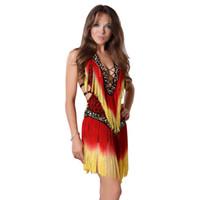 vestidos latin da dança do sequin do salão de baile venda por atacado-Vestidos de dança latina - franja dança de salão saia Lyrical Tassel lantejoulas vestido de moda vestido de tango para mulheres