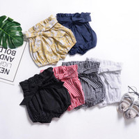 Wholesale black fungus online - Kid s shorts Summer baby girl pants Bowknot shorts Black fungus edge knickers Newborn grid bread pants fashion baby clothes CLS111
