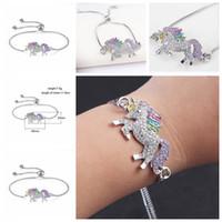 Wholesale adjustable diamond supply online - unicorn bracelet diamond pendant colorful Adjustable Bracelet children jewellery girl gitfs Horse Pendant Charm kids toy party favor FFA1386