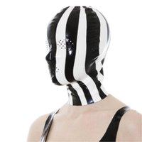 borracha máscara zipper venda por atacado-Máscara de capuz de látex Máscara de preto e branco com máscara de borracha de zíper
