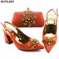 bolsas de zapatillas de fiesta al por mayor-Moda Mujeres Zapatillas 2020 del partido del bolso y la bolsa de zapatas de naranja y zapatos Set italiana En los zapatos de boda de las mujeres de alta calidad de africanos