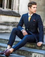 gestreifte formale hose groihandel-2020 Navy Striped zweireihiger Männer Hochzeitsanzüge 2pieces Bräutigam Smoking Beat-Mann-Klagen Slim Fit formale Partei-Business-Blazer (Jacket + Pants)