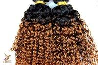 renk 27 kıvırcık toptan satış-T1B / 27 Iki Renk Sapıkça Kıvırcık Saç Dokuma% 100% İnsan Saç Dokuma 10-30 Inç Çift Atkı Bakire Saç Uzantıları
