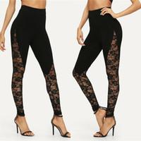 cortar leggings negros al por mayor-2019 de las mujeres tendencia de la moda Tamaño del panel lateral floral de las señoras del cordón fotografica Negro Leggings verano flaco largo atractivo de los pantalones Plus S-XXL