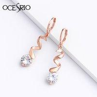 natürliche zirkon ohrringe großhandel-OCESRIO 585 Rose Gold Ohrringe mit Steinen Weiß Natürliche Zirkon Ohrringe für Frauen Baumeln Ohrring Fashion Party Schmuck ers-P94