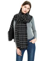 weißer kaschmir-seidenschal groihandel-Maxi Hochwertige einfache Art und Weise wie Kaschmir helle Seide schwarz-weiß karierten Schal der Frauen schicke dicke warme Fransen Schal Schal
