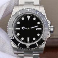 hombres libres dhl reloj al por mayor-N fábrica V8 ETA 2836 zafiro reloj de buceo de cerámica Negro de lujo de los hombres luminosos No hay fecha Reloj 114060 Modelo de envío libre de DHL mecánico