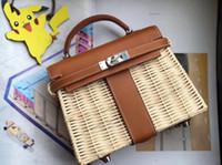 hecho punto de cruz al por mayor-Nuevo diseñador de bolsos de mujer de moda clásica hecho de cuero genuino y tejidos de bambú hechos a mano bolso de mujer bolso cruzado