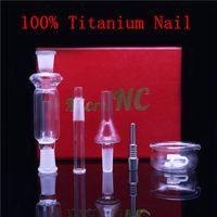 mikro k toptan satış-10mm mini Mikro NC Kiti ile Titanyum Tırnak Cam Ucu Dabber Cam Bong Wax Petrol Rig Cam Boru İpuçları Reclaimer Dab Straw K ...
