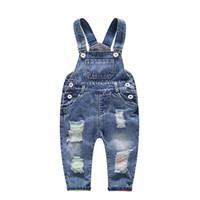 05fff74231b0 girls denim overalls Canada - Spring Autumn Children Clothing Girls Jeans  Denim Blue Baby Boys Jeans