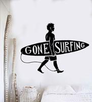 ingrosso design della camera da letto della spiaggia-NUOVO Sport Serie Adesivo Surf Guy Surf Beach Surfer Wall Sticker Vinyl Art Design Murale Casa Decorazione della camera da letto