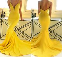 vestidos de fiesta de espalda abierta de color amarillo al por mayor-Sexy Spaghetti Amarillo Profundo Cuello en V Sirena Vestidos de baile Barato espalda abierta Negro Vestido de noche de las muchachas Nuevo vestido formal del desfile del partido BM0937