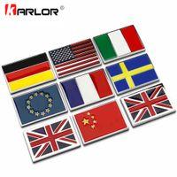 faser metallabdeckung großhandel-Metallaufkleber USA UK Gremany Frankreich Italien Schweden Nationalflagge Emblem DIY Metall Auto Aufkleber Body Cover Auto Heck