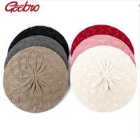 ingrosso berretti acrilici-Berretto Beret da donna in tinta unita lavorato a maglia Berretti casual sottile in acrilico per donna