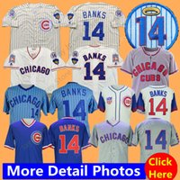 beyzbol formaları toptan satış-Chicago Ernie Bankalar Jersey Ev Uzakta 1968 1969 Beyzbol Cubs Formalar Krem Pinstripe Mavi Beyaz Gri Erkekler boyut M-3XL