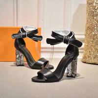 siyah çiçek topuklu ayakkabılar toptan satış-2019 Yeni Ünlü SILHOUETTE sandalet Siyah Hakiki Deri Kadın 10 CM Yüksek topuklu Çiçek Garip Topuk Ayakkabı Kadın 35-42