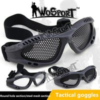 Wholesale hunting goggles resale online - High Quality Hunting Tactical Paintball Goggles Eyewear Steel Wire Mesh Net Glasses Resistance Eye Game Protector