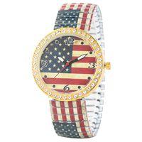 Wholesale flag watch men resale online - Elegant Diamonds Encrusted Expansion Band Wristwatch American Flag Pattern Dial Watches for Women Casual Quartz Analog Watch for Men
