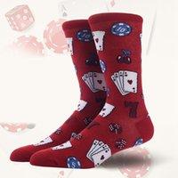 Wholesale poker accessories for sale - Group buy Casual Socks Dice Poker Card Printed Anti slip Breathable Cotton Hosiery Footwear Accessories Fitness Women Men s Sportswear