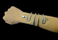 ingrosso braccialetti d'argento africani del braccialetto-Boho personalità vintage argento serpente aperto polsino braccialetto India turchi africani bracciali braccialetti partito punk gioielli pulseiras