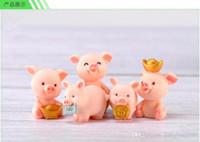 animais de jardim de resina venda por atacado-8 Estilos Mini bonito porquinho animais fadas jardim miniaturas mini gnomos resina artesanato estatuetas para casa jardim decoração DHL Frete Grátis