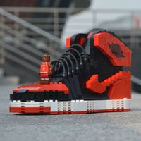 Wholesale handmade stitch resale online - Ajj building blocks ajj1 black and red toe compatible Lego basketball shoes model handmade building blocks stitching sneakers LOGO