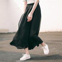 düğme japonya toptan satış-Kadın Etekler Kawaii Ulzzang Düzensiz Şifon Elegance Yüksek Bel Tül Etek Kadın Kadınlar Için Japonya Harajuku Sevimli Düğme