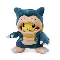 anime çocukları toptan satış-8 inç Pokemons Pikachu Peluş oyuncaklar Yumuşak dolması sevimli Kapmak makinesi Bebek Çocuk doğum günü Için en iyi hediye
