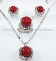 aretes de coral rojo perla al por mayor-Prett Lovely Wedding Wedding Red South Sea Shell Pendiente de perlas / Anillo / Collar Conjunto colgante
