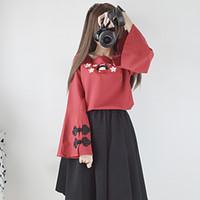 trajes de gato japonês venda por atacado-Japonês Harajuku Mulheres Bonitos 2 Peças Set Red Bordado Floral Anime Blusa Suspensórios Gatos Adorável Sundress Menina Kawaii Traje