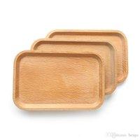 dessertschalen groihandel-Quadrat Obst Platte Teller Holzplatte Teller Dessert Kekse Platte Teller Tee Serviertablett Holz Becherhalter Schüssel Pad Geschirr Tablett BC BH1574