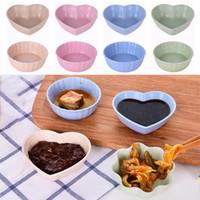 ingrosso piatti carini-Super Cute Pink Leaf Shape piattino piccola ciotola salsa di soia frutta stoviglie piatto e piatto profondo Paglia di grano piatto di sushi Cucina WX9-1355